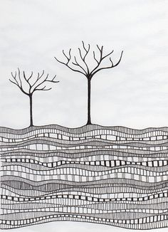#73 Zentangle - Two little trees…  Finally have a scanner and everything set up again.