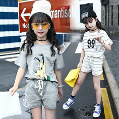 bd6560d95dc40 Katefengwo 2017 Baby Girls Summer Striped Short Cartoon Clothes Sets Kids  Cotton Teenage Graduation Children Clothing Suits-in Clothing Sets from  Mother ...