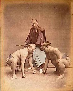 Samurai with two sumo wrestlers.