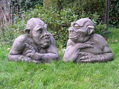 old geezers garden gargoyles.funny for our pool! Garden Statues, Garden Sculpture, Lion Sculpture, Diy Art Projects, Gnome Garden, Garden Ornaments, Goblin, Yard Art, Faeries