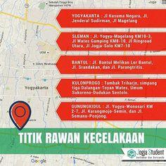 """#Infografis : Inilah Titik Rawan Kecelakaan di Yogyakarta.  Kabidhumas Polda DIY AKBP Anny Pudjiastuti menuturkan bahwa """"Kecelakaan di wilayah kota sering terjadi karena arus yang padat semrawut dan banyak pengendara yang menyerobot jalur."""" Sumber : Tribunnews.  #jogjadata #jogjainfo #jogjastudent #MhsJogja"""