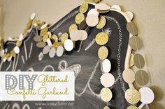 DIY Glittered Confetti Garland. Use your sewing machine to join! http://www.classyclutter.net/2013/12/diy-glittery-confetti-garland.html