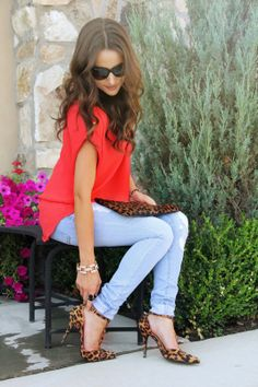 Light Blue Jeans Orange Chiffon Top Leopard Heels Leopard Clutch