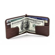 Tony Perotti Mens Italian Cow Leather Bifold Spring Tension Money Clip Wallet with Credit Card Slots