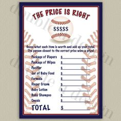 INSTANT DOWNLOAD - Baseball Price is Right Baby Shower Game - Printable DIY on Etsy, $7.00