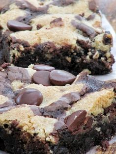 Chocolate Chip Cookie Brownies Recipe ~  quick, easy, rich and chocolaty