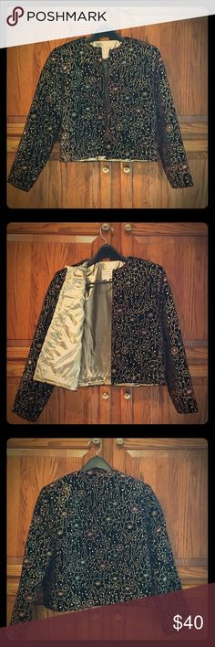 Dressy velvet blazer Beautiful black velvet with floral design and gold embroidery.  Fully lined in gold. Flowers are of muted forest green and burgundy, which subtly change with the lighting. Like new, only worn 3 times. L Rothchild for Lilly Ann Jackets & Coats Blazers