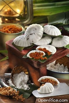 Kueh Tutu - Steamed with Coconut and special brown sugar or with ground peanuts and sugar.