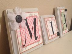 Nursery wall letters, personalized/custom baby name letters, baby gift, girl nursery decor, kid /child wall art, pink, green letter block. $7.00, via Etsy.