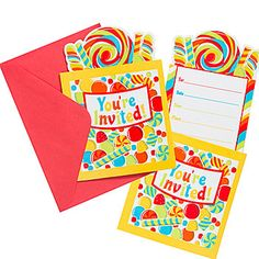 Our #SugarBuzz Invitations invites your guests to your party with lollipops and candies on the pop up invitation.