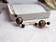 Gold Filled Onyx Earrings Genuine Gemstone by ExquisiteStudios, $43.00