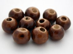 5 Greek Ceramic Beads  12 mm Beads  Brown by ThisPurplePoppy, $3.00