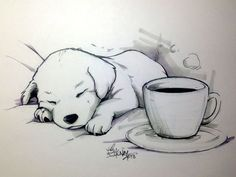 "Coffee Doggy tracerhank.deviantart.com ""No coffee can keep this little one awake."" Line art: Sakura Micron pigma pens and Copic pigma pens. Grey tones: Chartpak alcohol markers.:"