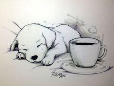 Dessin d'un chien en train de dormir avec une tasse de café a côté. Dessin très réaliste (noir et blanc)