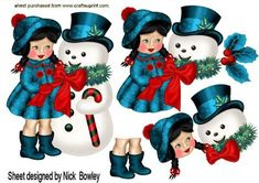 Little girl in her turq coat with snowman A4 on Craftsuprint - Add To Basket!