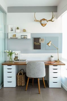 Jun 2019 - Contemporary Home Office Design Ideas - Exceptional Contemporary Office Designs For Your Business . you with interior designs that are mosting likely to provide you ideas regarding your entire home. Home Office Setup, Home Office Organization, Home Office Space, Home Office Design, Office Workspace, Apartment Office, Guest Room Office, Bedroom With Office, At Home Office Ideas