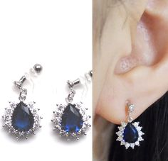 💎Sparkle filled dangle navy blue cubic zirconia crystal drop invisible clip on earrings. They will look gorgeous with your any elegant outfit.   💕This look like pierced earrings but this is COMFORTABLE CLIP ON EARRINGS!!