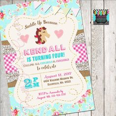 This listing is for a SHABBY CHIC PONY teal invitation. YOU PRINT. In Pink and Teal This is a digital file that will be sent to you upon purchase for you to print. Cowboy And Cowgirl, All Design, Party Invitations, Pony, Handmade Items, Shabby Chic, Teal, Etsy Shop, Pony Horse
