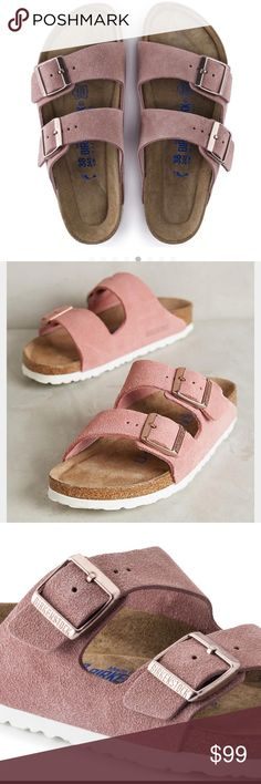 Birkenstock Arizona pink suede with rose gold Birkenstock Arizona pink suede with rose gold Soft; pastel-colored suede broadens the popular BIRKENSTOCK classic with new; trendy models. The high-quality; thick suede of the sandals is completely dyed. The colors draw on fresh summer trends. A special detail of the sandals is their white outsole. It emphasizes the clean; muted look of the shoe. The soft and comfortable footbed provides extra comfort ❌NO BOX❌NO TRADES⛔️OPEN TO ANY OFFERS⛔️…