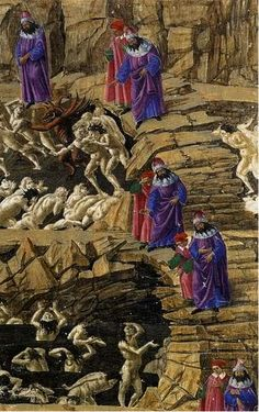 botticelli, dante and virgil in the eighth circle of hell, 1480s