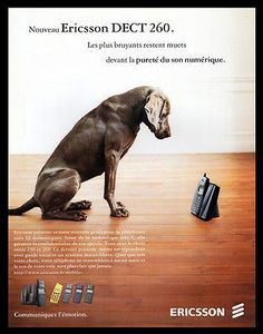 Ericsson Telephone AD 2000 French Text Puppy Dog Photo Art Wireless DECT 260 AD