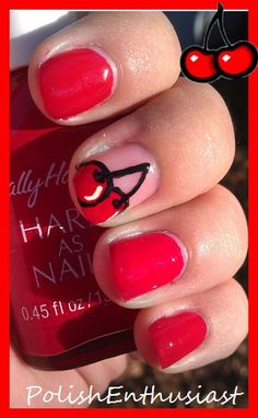 Cherries accent nails
