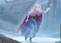 A storybook illustration of Anna freezing to death as she desperately tries to find her sister.
