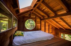 Jay Nelson's Tiny House in Hawaii with sleeping loft, porthole window and skylight Tiny House Cabin, Tiny House Living, Tiny House Plans, Tiny House Design, Small Living, Cabin Loft, Rv Living, Outdoor Living, Living Spaces