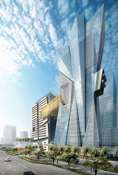 Architecture Solis Hotel, Doha, Qatar designed by Hill Glazier Studio (HGS) Unusual Buildings, Interesting Buildings, Amazing Buildings, Modern Buildings, Modern Architecture Design, Futuristic Architecture, Beautiful Architecture, Interior Architecture, Minimalist Architecture