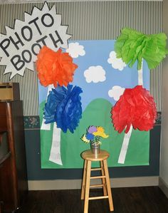 photo booth at our Lorax Birthday! I love the idea of setting up a photo booth at a kids birthday party to get pictures of all the guests by themselves!!! Awesome!