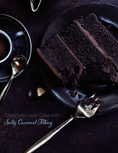 Chocolate Layer Cake with Salty Caramel Filling
