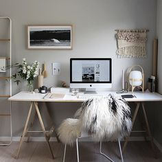 #espace de travail#working Space #girly #cosy #blanc #bois #white #wood