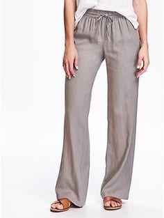 Mid-Rise Linen-Blend Wide-Leg Pants for Women | Old Navy