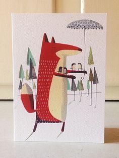 Fox greetings card by AngelaSmyth on Etsy, £2.50