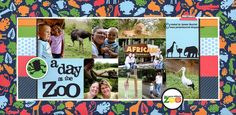 I love this LO - with the patterned paper acting a a frame (A Day at the Zoo - Scrapbook.com)