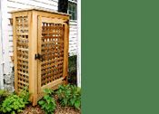 A simple lattice enclosure removes unsightly propane tanks from view.