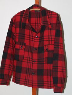 vintage red and black wool shirt jacket chippewa by TomTomVintage, $18.00