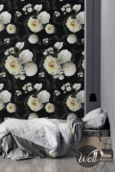 Peel and stick wallpaper with white flower pattern and black background...for entryway alcove