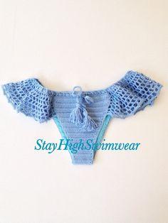 Blue Crochet Bikini Bottom Brazilian Bikini Swimwear Summer Accessories Womens Fashion Beach Wear Cover Up Full Linned