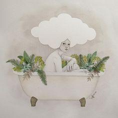 Hydra #art #soffronia #illustration #cloud #bathtub #plants #rain #girl #woman #hydra #watercolor #sofiabonati