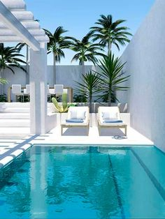 A swimming pool is a profitable home facility. With the swimming pool, the house becomes refreshing. Here are some swimming pool designs outside the door and inside. Small Swimming Pools, Swimming Pools Backyard, Small Pools, Swimming Pool Designs, Pool Landscaping, Lap Pools, Backyard Pool Designs, Small Backyard Pools, Outdoor Pool