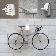 Top 10 DIY Bike Storage Ideas and Inspiration- The Handy Mano - 10 Interesting DIY Bike Storage Ideas bike rack indoor display stand hook cool hangers modern sleek - Bike Wall Storage, Vertical Bike Storage, Indoor Bike Storage, Indoor Bike Rack, Bike Storage Rack For Garage, Diy Storage Hooks, Bike Storage Small Space, Bike Storage Apartment, Diy Bike Rack