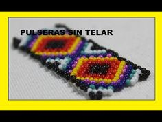 COMO HACER PULSERA EN MOSTACILLA SIN TELAR - YouTube Bead Crafts, Jewelry Crafts, Beading Tutorials, Bracelet Designs, Bead Weaving, Friendship Bracelets, Projects To Try, Beaded Necklace, Chokers