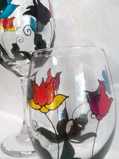 Stained Glass Flowers Hand Painted Wine Glass by PaintFromScratch, $35.00