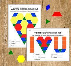 Valentine's Pattern Block Mats - Playdough To Plato Preschool Math, Kindergarten Activities, Valentine Theme, Valentine Nails, Valentine Ideas, Funny Valentine, Valentines Day Activities, Holiday Activities, Stem Activities
