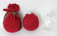 Repurpose Sweaters Into Oversized Ornaments. Old knit sweaters and a glue gun create beautiful Christmas ornaments. Use plastic ornaments as the form - much cheaper than styrofoam. Design Dazzle #christmas #christmascrafts #repurposedsweaters
