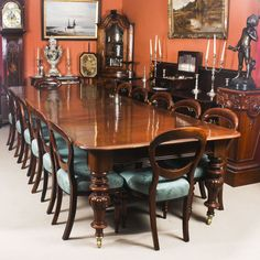 A beautiful dining set comprising an antique Victorian flame mahogany dining table and a set of 14 antique early Victorian walnut dining chairs. Modern Dinning Table, Victorian Dining Tables, Buy Dining Table, Walnut Dining Chairs, Antique Dining Chairs, Mahogany Dining Table, Dining Table Design, Extendable Dining Table, Dining Table Chairs