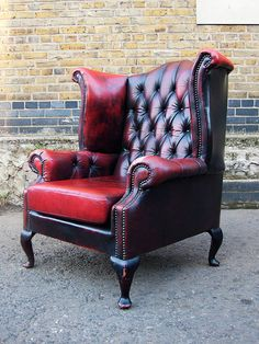 Beautiful scottish ox blood leather Queen Anne chair