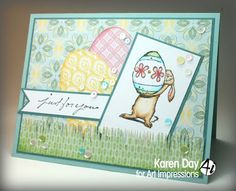 Art Impressions Rubber Stamps: Bunny & Egg (Sku #4596) Ai Easter ... handmade card with rabbit.