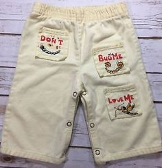 Vintage 1970s Baby Pants Ivory Don'T Bug Me Love Me Cupid Insects 18M Kitschy | eBay